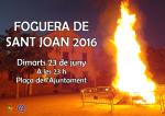 La foguera de Sant Joan 2016 a la plaça de l'Ajuntament