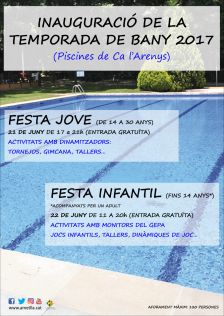Festes d'inauguració de la temporada de bany 2017 a les piscines de Ca l'Arenys