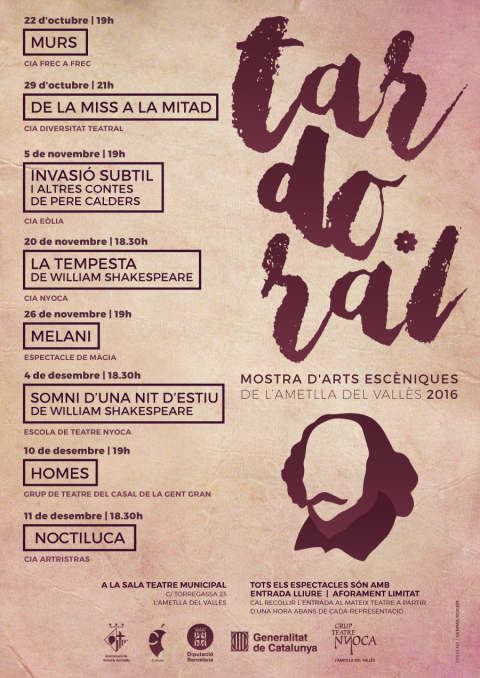 Programació de la Mostra d'Arts Escèniques de l'Ametlla del Vallès 2016