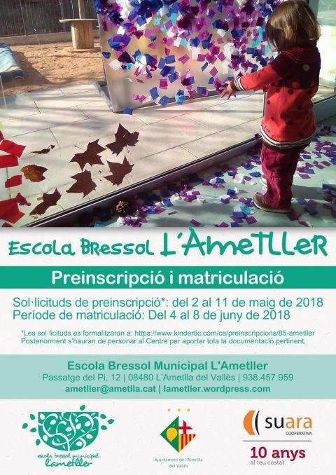 Preinscripció i matriculació a l'Escola Bressol Municipal l'Ametller